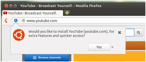 Message alert pour installer Youtube