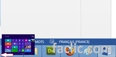 Bouton bureau accueil Windows 8