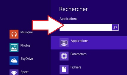 Rechercher une application sur Windows 8