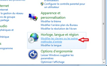 Bouton panneau de configuration Windows 7