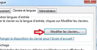 Bouton modifier les claviers Windows 7