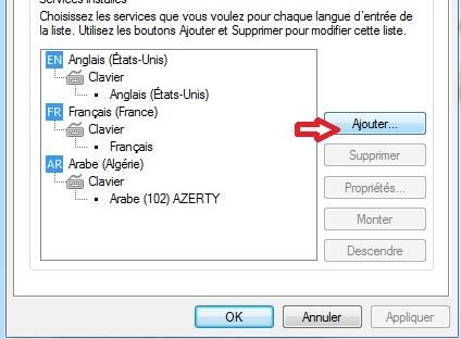 Langue de clavier Windows 7