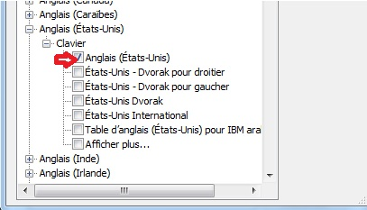 Choix de langue de clavier Windows 7