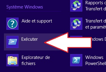 Application Exécuter Windows 8