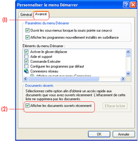Voir les documents récents sur Windows XP.