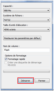 Formater un flash disque sous windows 7
