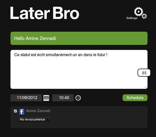 LaterBro, planifier des tweets et Posts Facebook