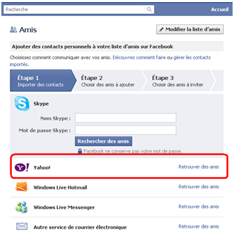 Ajouter mes contacts Yahoo mail sur facebook