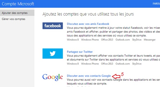 Discuter avec vos contacts Google 'Outlook'