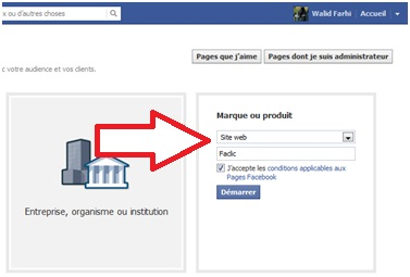 Formulaire page page Facebook