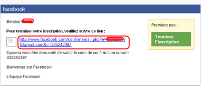 Email de validation du compte Facebook
