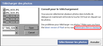 Charger un pack de photos dans un album facebook