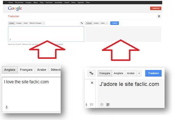 Interface Google Traduction