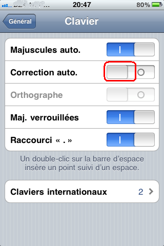 Désactiver la correction automatique d'iphone
