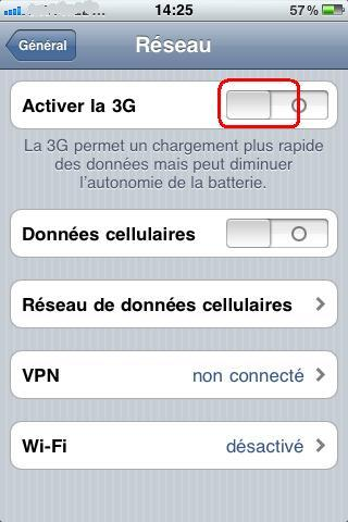 désactiver le mode 3G de l'iphone