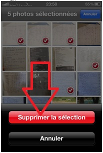 Confirmer la suppression d'images d'iPhone