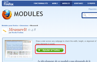 Page du module Measureit