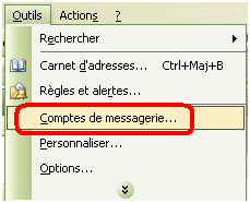 Bouton Compte de messagerie Outlook