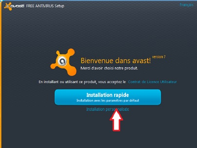 Bouton pour installer Avast