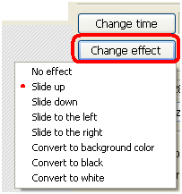 Bouton Change effect d'animation Photoscap