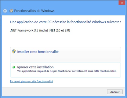 Message d'erreur Windows 8 pour installer Net Framework