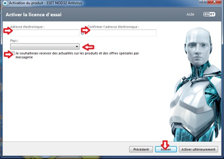 Activation de licence d'essai ESET NOD32