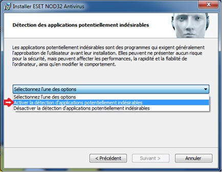 Choix de protection contre les applications indésirables NOD32