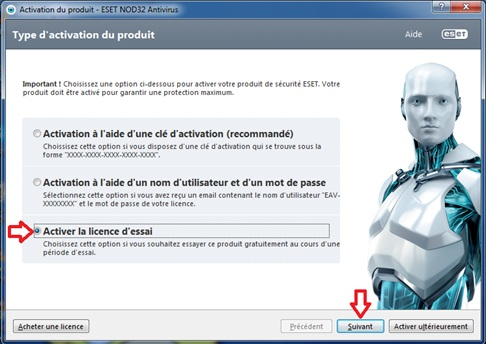 Fin d'installation de NOD32