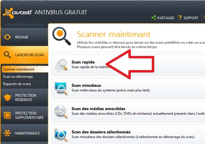 Bouton scan d'accueil Avast