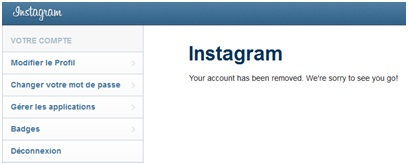 Confrimation de la suppression du compte Instagram