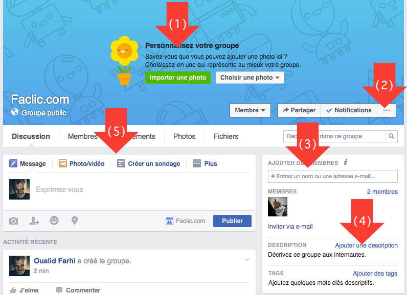 Interface du groupe Facebook