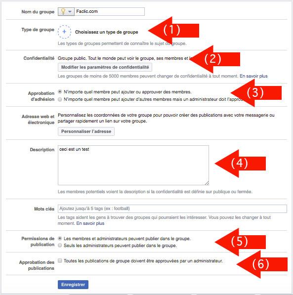 Paramètres groupe Facebook