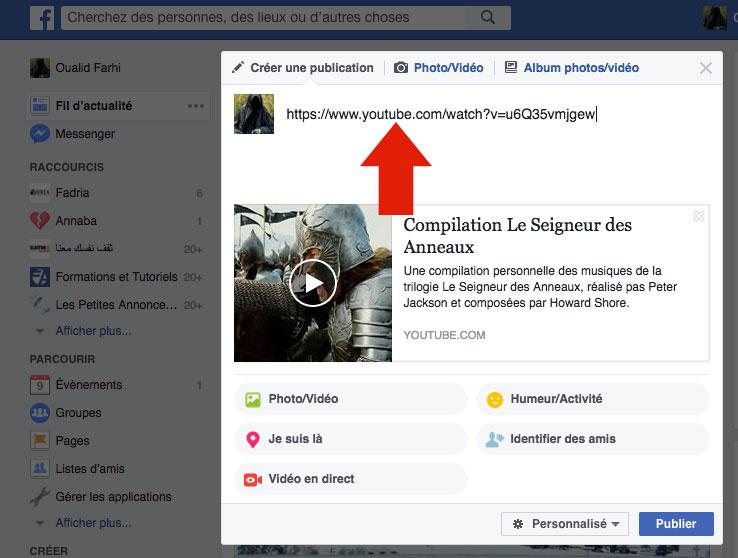 Publier vidéo Youtube sur Facebook