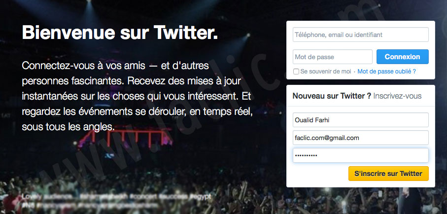 Page d'accueil Twitter
