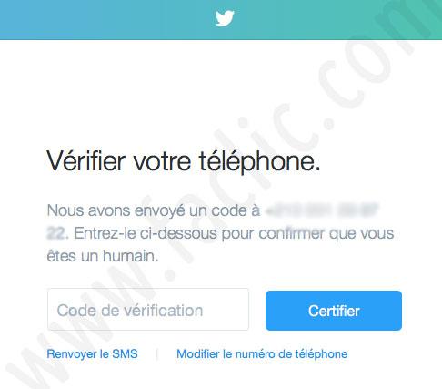 Certifier le numéro de téléphone Twitter