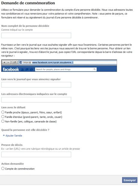 Formulaire Facebook pour signaler une personne décédée
