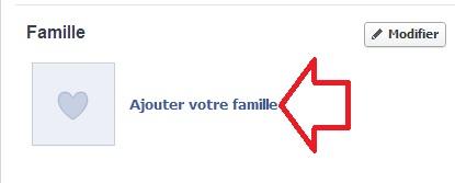 Bouton pour ajouter un membre de famille Facebook