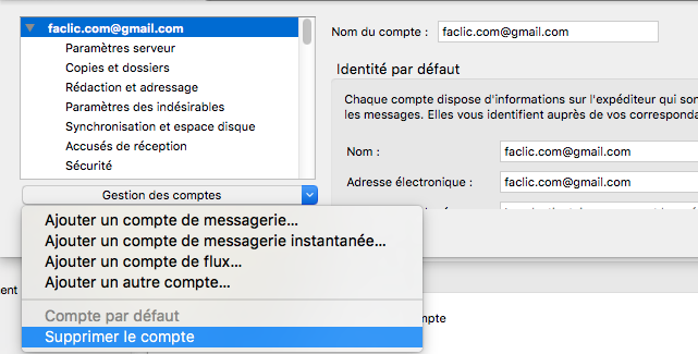 Suppression d'email