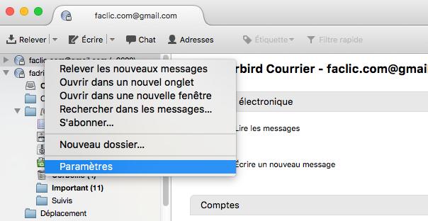 Supprimer un email Thunderbird