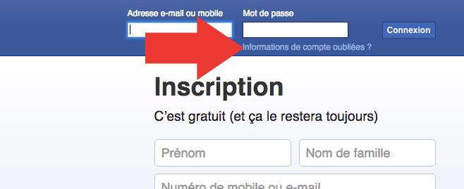 Informations Facebook oubliées