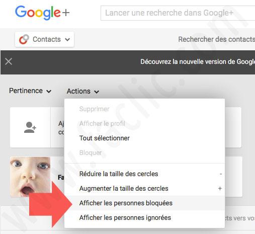 Les contacts bloqués sur Google Plus