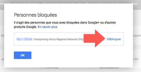 Débloqué une personne sur Google Plus