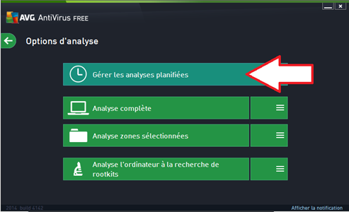 Planifier l'analyse AVG