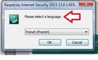 Choix de langue d'installation