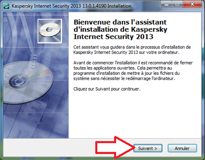 Fenêtre d'installation de Kaspersky Internet Security