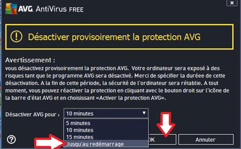 Validation de désactivation d'AVG