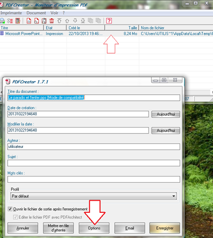 Option pour convertir le fichier avec PDFCreator