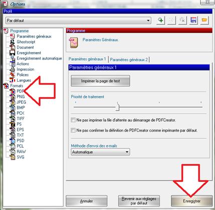 Choix du format PDF