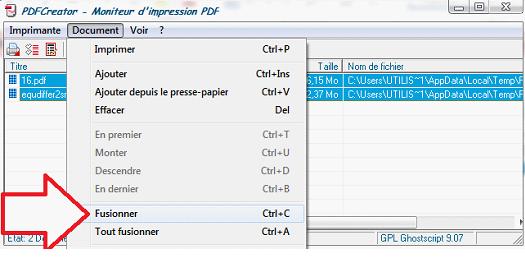 Bouton pour fusionner les deux documents PDF