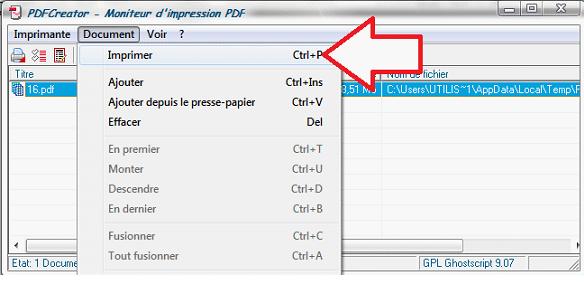 Bouton Imprimer de PDFCreator